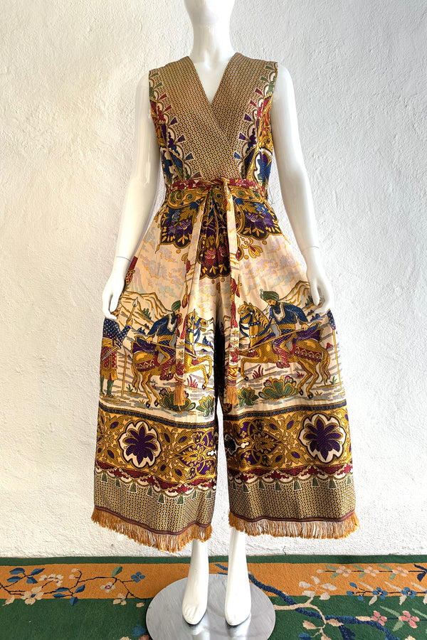 Vintage Georgie Keyloun Fringed Tapestry Jumpsuit on Mannequin front pant at Recess