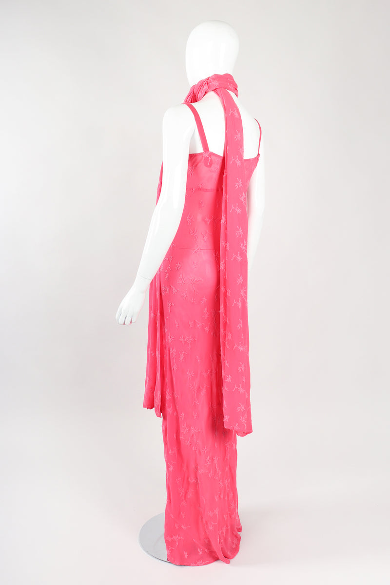 Recess Los Angeles Designer Consignment Vintage Ghost Hot Pink 90s Minimal Embroidered Slip Dress & Shawl