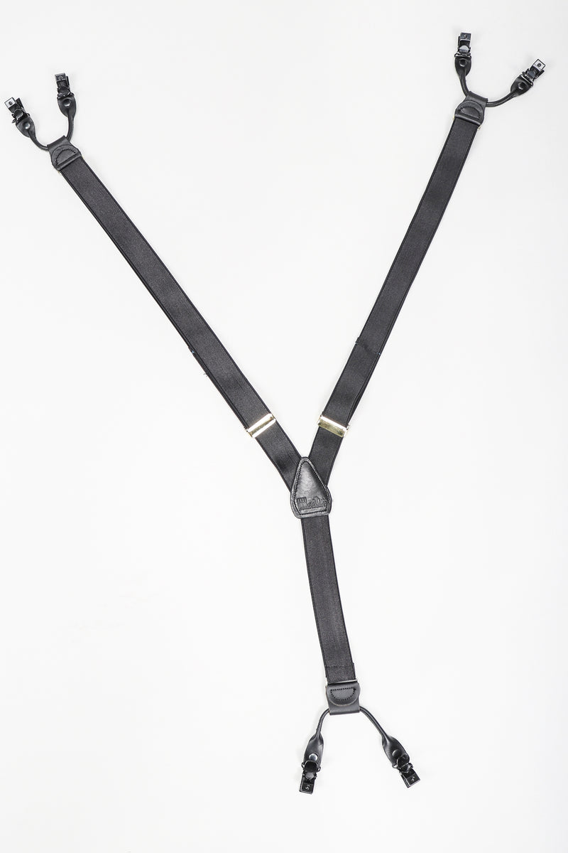 Recess Vintage Gianfranco Ferre Black Suspenders on White Background