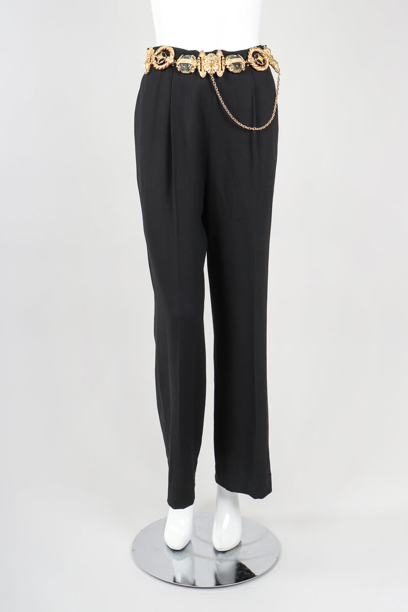 Recess Vintage Gianfranco Ferre Black Pant With Gold Belt on Mannequin