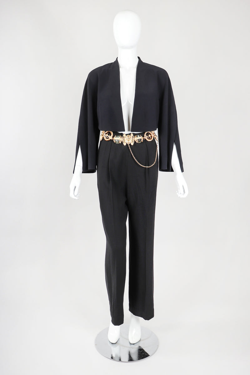 Recess Vintage Gianfranco Ferre Black Jacket, Belted Pant & Suspender Set on Mannequin, Front