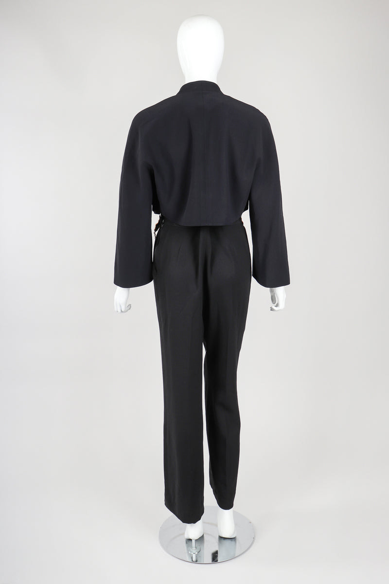 Recess Vintage Gianfranco Ferre Black Jacket, Belted Pant & Suspender Set on Mannequin, Back