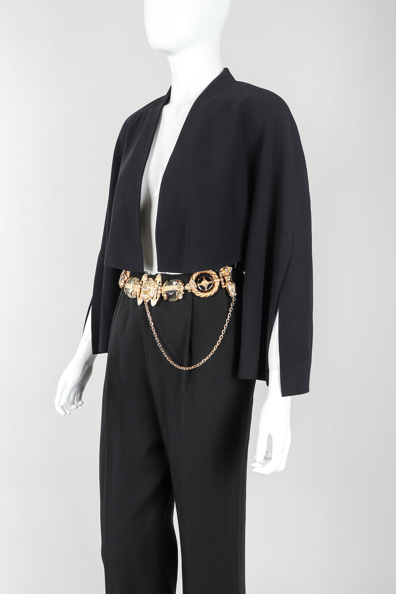 Recess Vintage Gianfranco Ferre Black Jacket, Belted Pant & Suspender Set on Mannequin