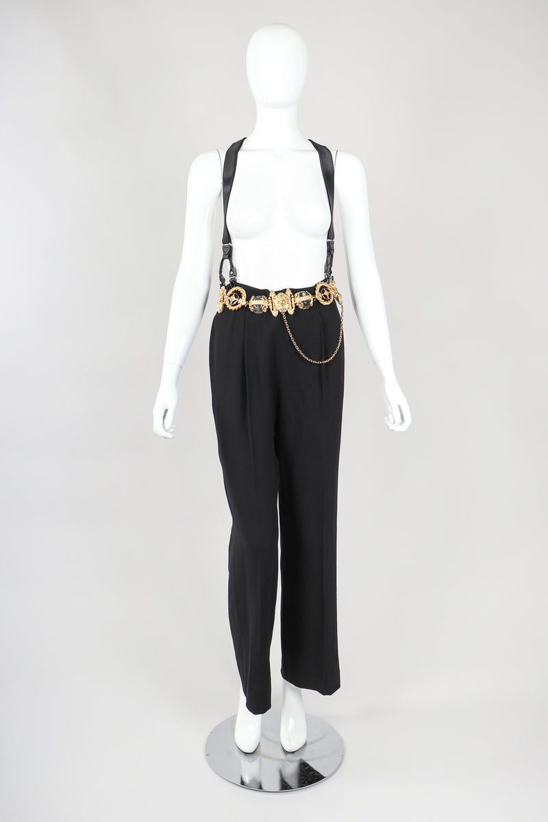 Recess Vintage Gianfranco Ferre Black Belted Pant & Suspenders on Mannequin