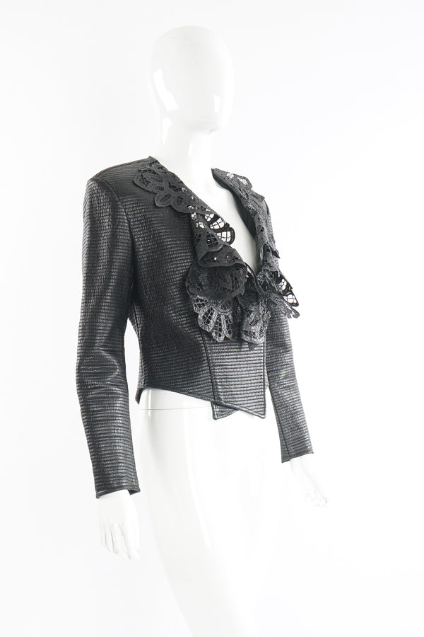 Vintage Gianfranco Ferre Quilted Leather Lace Jacket on Mannequin angle at Recess Los Angeles