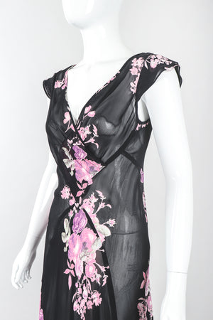 Recess Designer Consignment Vintage Gianfranco Ferre GFF Sheer Chiffon Bias Pieced Rose Print Dress Los Angeles Resale