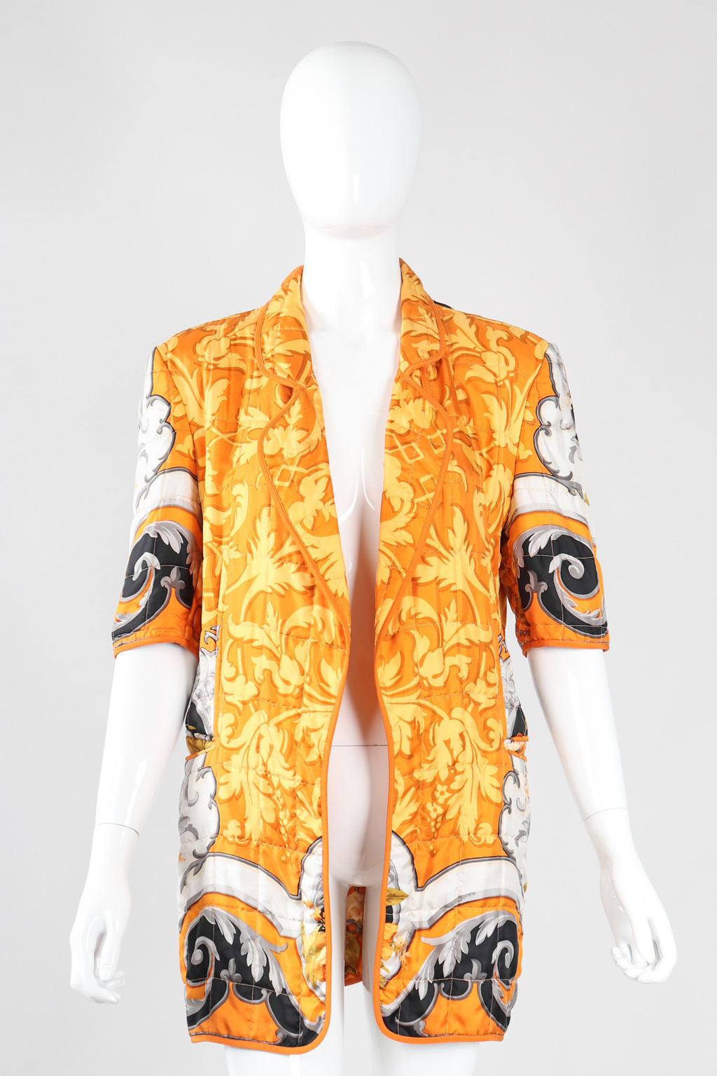 Recess Los Angeles Vintage Gianfranco Ferre Baroque Print Quilted Silk Jacket