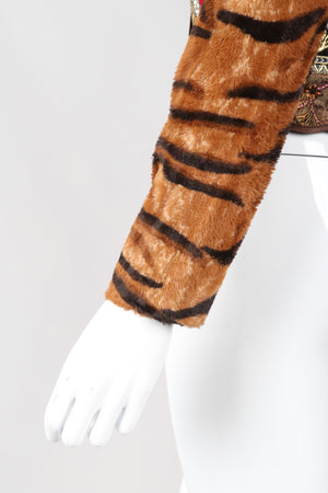 Recess Los Angeles Vintage Gianfranco Off-The-Shoulder Ferre Tiger Fur Brocade Top