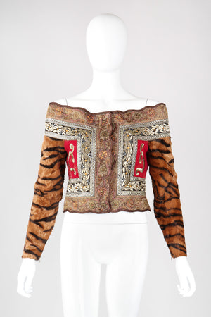 Recess Los Angeles Vintage Gianfranco Ferre Off-The-Shoulder Tiger Fur Brocade Top