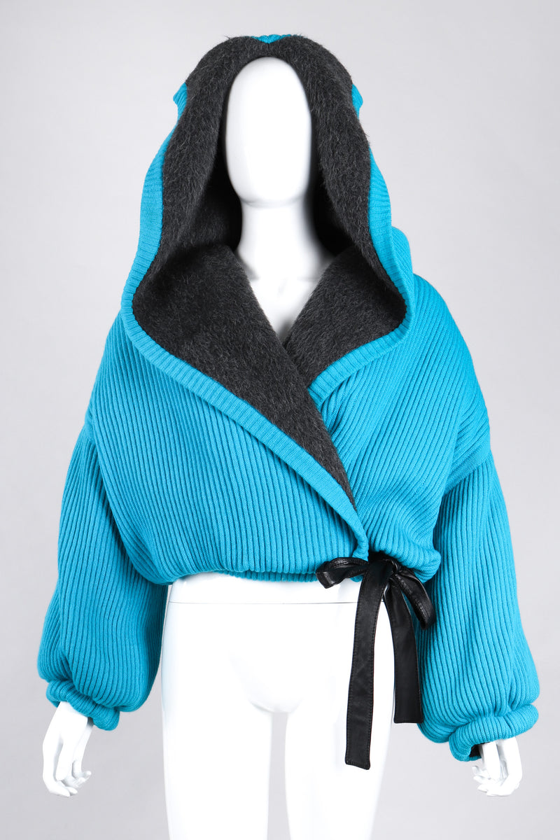 Recess Los Angeles Vintage Giancfranco Ferre Avant Garde Wrap Turquoise Short Jacket Hood Front Slit Leather Ties Fuzzy Lining Inner Quilting Puffy