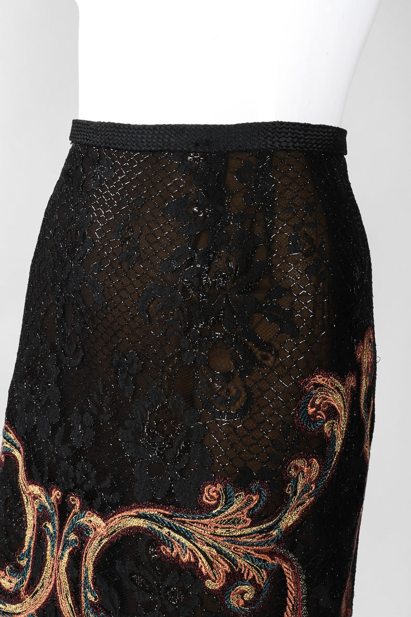 Recess Los Angeles Vintage Gianfranco Ferre Baroque Metallic Embroidered Lace Skirt