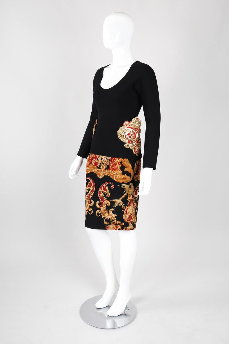 Baroque Chinoiserie Quilted Skirt & Wrap Set