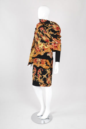 Recess Los Angeles Vintage Gianfranco Ferre Baroque Quilted Embroidered Skirt & Wrap Set