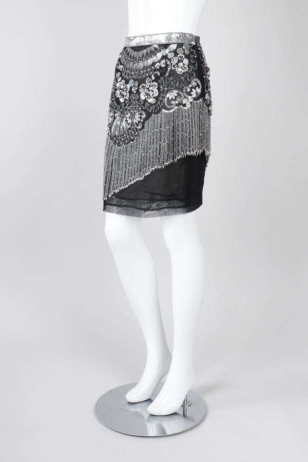 Recess Los Angeles Vintage Gianfranco Ferre Mesh Crystal Bead Fringe Gatsby Flapper Skirt