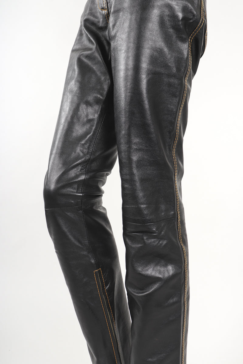 Recess Designer Consignment Vintage Gianfranco Ferre Contrast Stitch Leather Jean  Los Angeles Resale