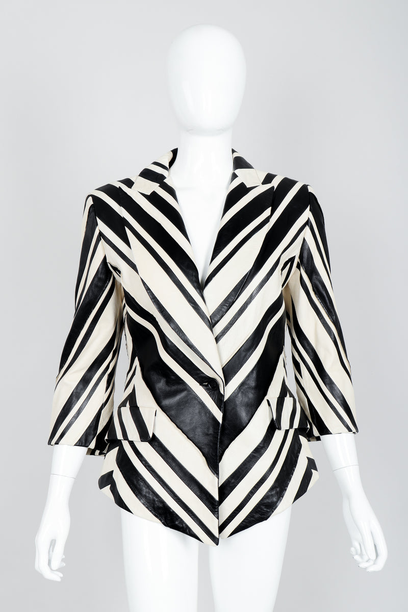 Vintage Gianfranco Ferre Leather Chevron Zebra Jacket on Mannequin Front