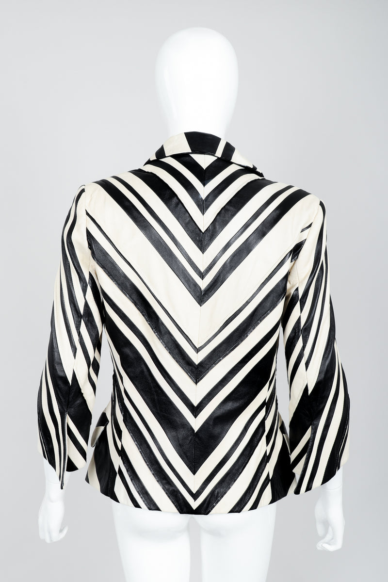Vintage Gianfranco Ferre Leather Chevron Zebra Jacket on Mannequin Back