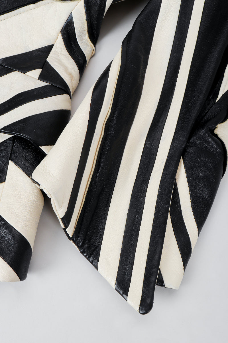 Vintage Gianfranco Ferre Leather Chevron Zebra Jacket Sleeve Detail