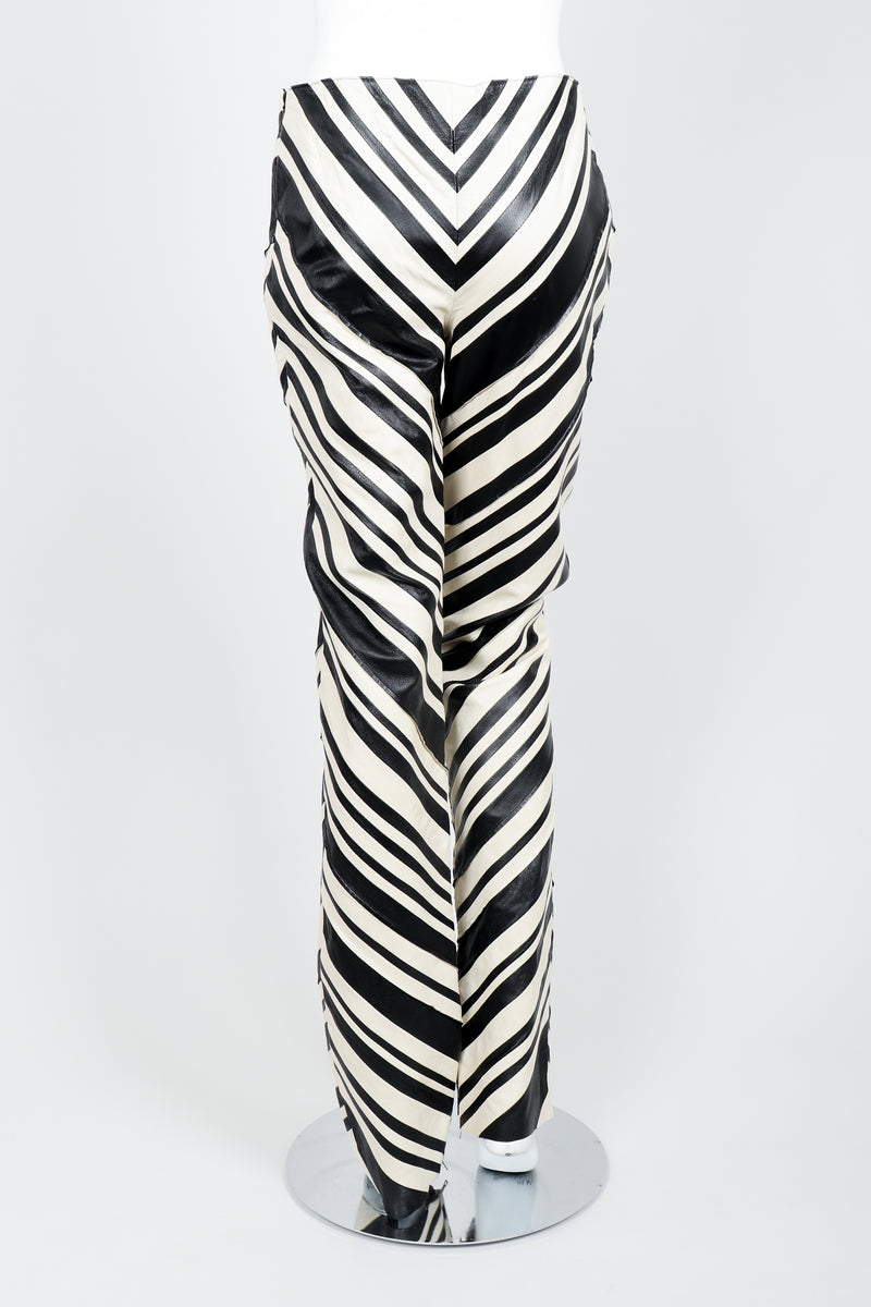 Vintage Gianfranco Ferre Leather Chevron Zebra Pant on Mannequin back