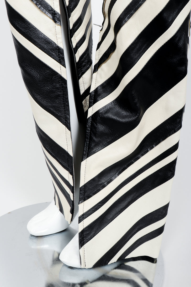 Vintage Gianfranco Ferre Leather Chevron Zebra Pant Leather detail
