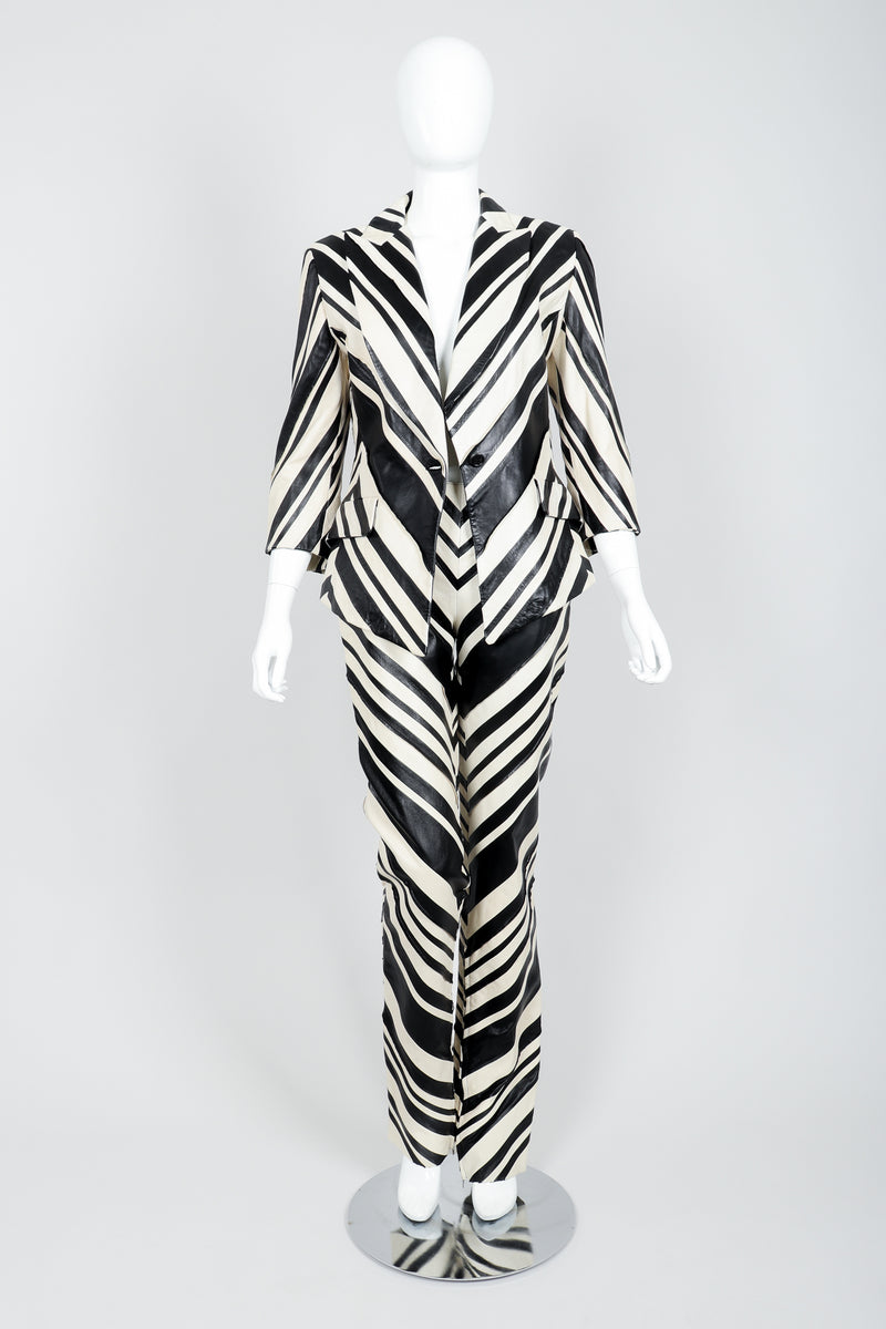 Vintage Gianfranco Ferre Leather Chevron Zebra Jacket & Pant Suit Set on Mannequin Front