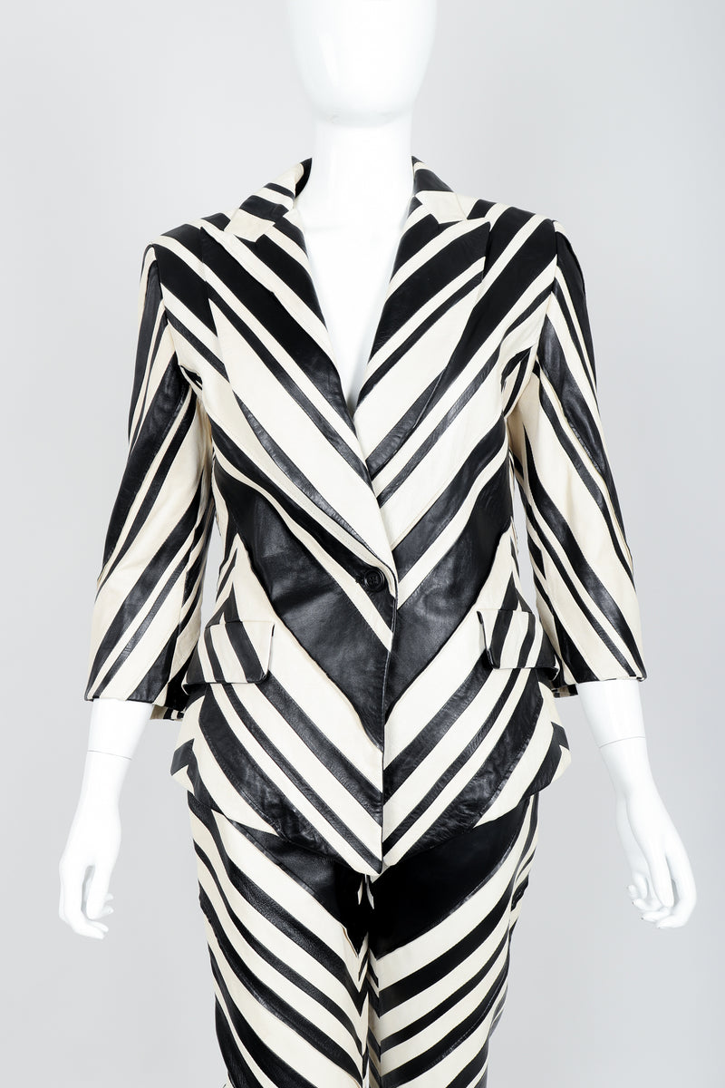 Vintage Gianfranco Ferre Leather Chevron Zebra Jacket & Pant Suit Set on Mannequin Crop