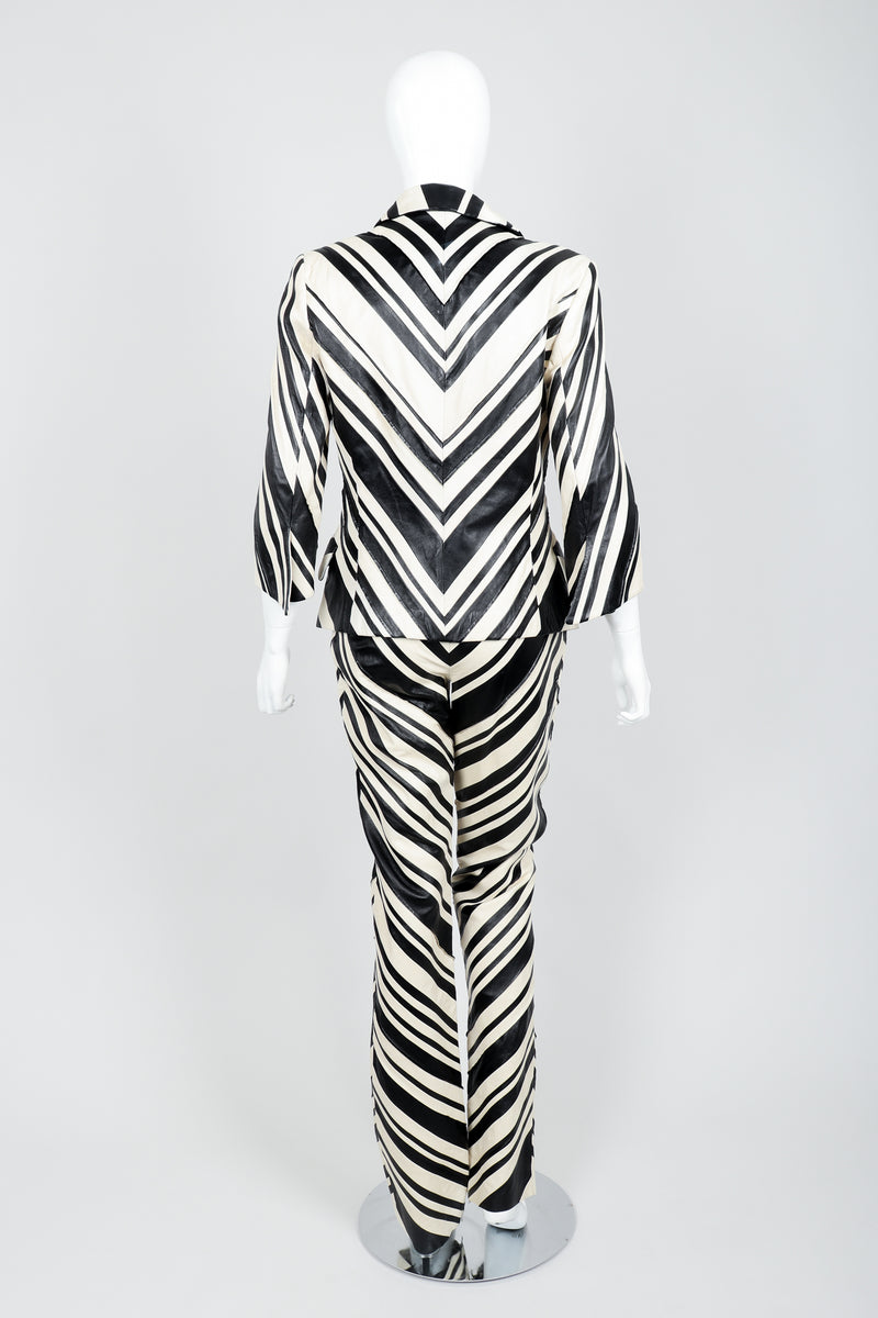 Vintage Gianfranco Ferre Leather Chevron Zebra Jacket & Pant Suit Set on Mannequin Back