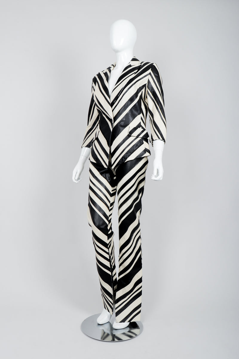 Vintage Gianfranco Ferre Leather Chevron Zebra Jacket & Pant Suit Set on Mannequin Angled