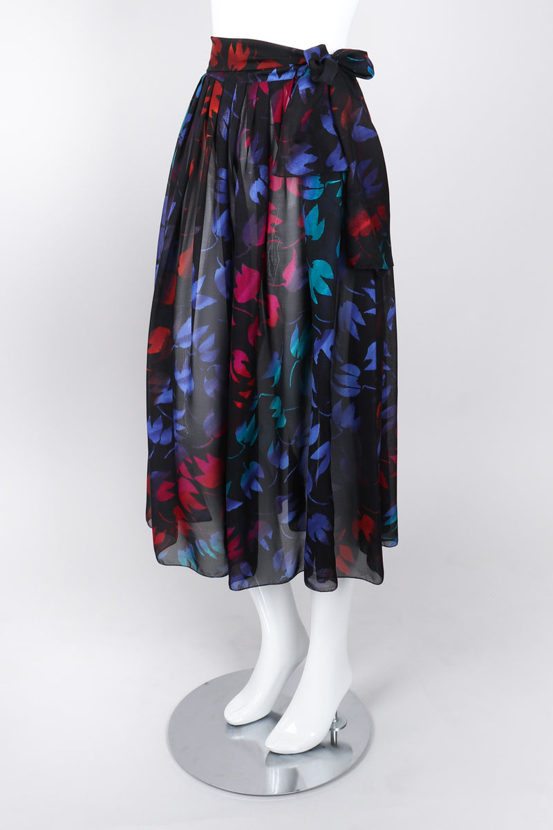 Recess Los Angeles Vintage Gianni Versace Sheer Silk Chiffon Ombré Leaf Print Skirt
