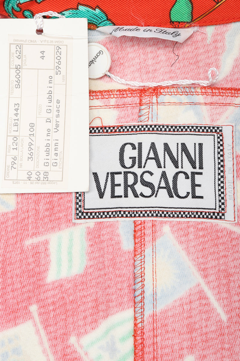 Recess Designer Consignment Vintage Gianni Versace Baroque Flag Print Twill Jean Jacket Los Angeles Resale