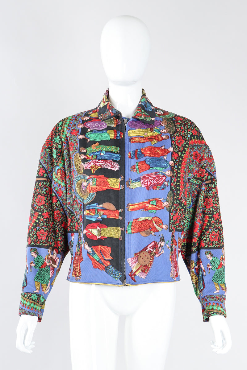 Recess Los Angeles Designer Consignment Vintage Gianni Versace Asian Peacock Print Harrington Jacket