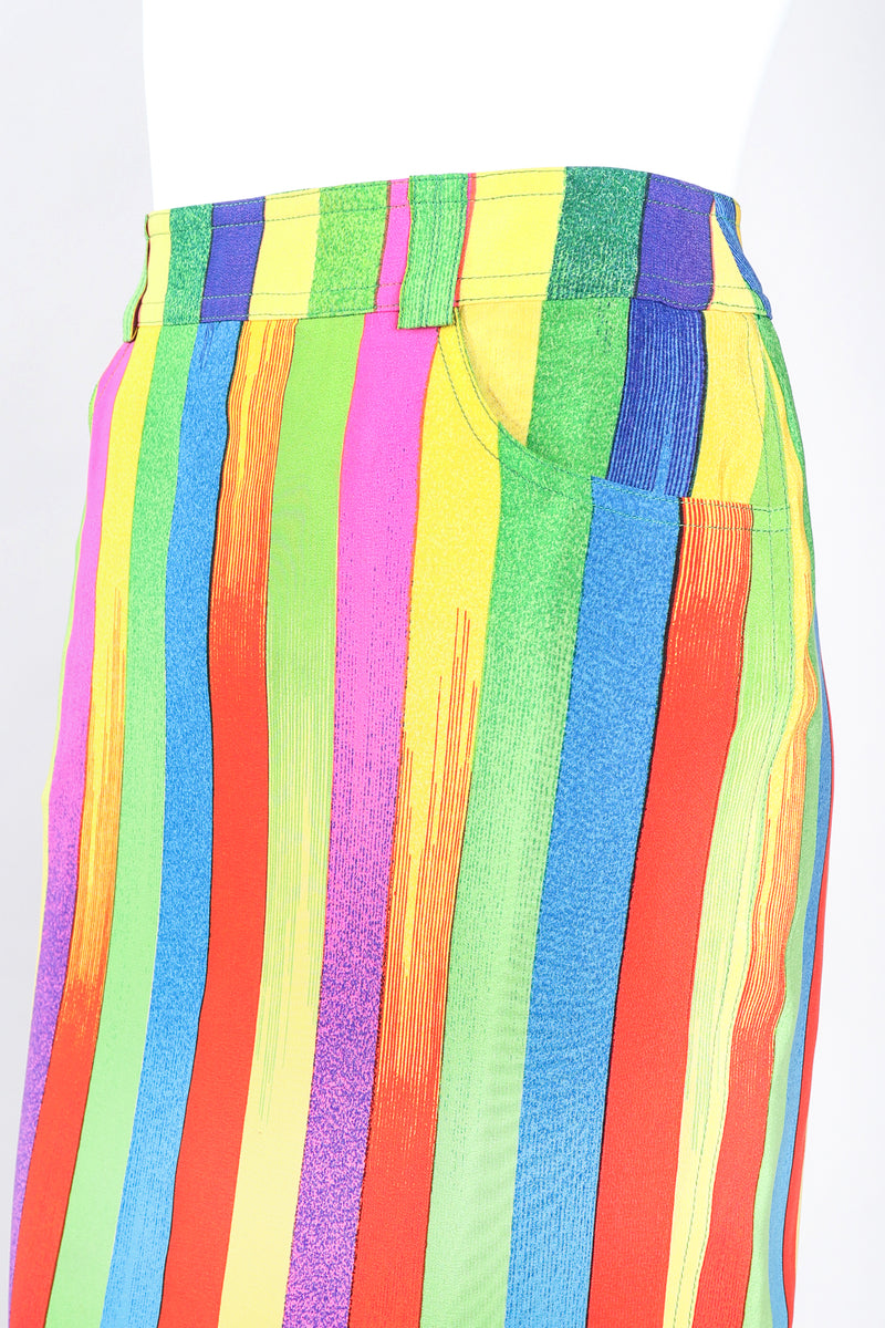 Vintage Versace Carnival Stripe Skirt Set on Mannequin Waist at Recess Los Angeles
