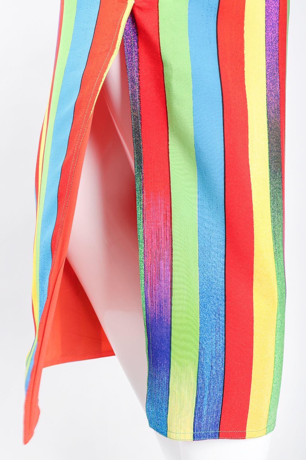 Recess Los Angeles Designer Consignment Vintage Gianni Versace Rainbow Carnival Striped Silk Midi Skirt