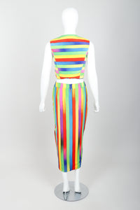 Vintage Versace Carnival Stripe Vest & Skirt Set on Mannequin Back at Recess Los Angeles