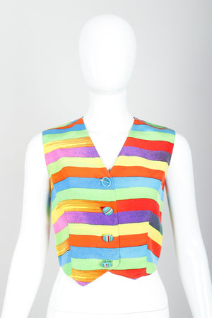 Vintage Versace Carnival Stripe Vest Set on Mannequin Front at Recess Los Angeles