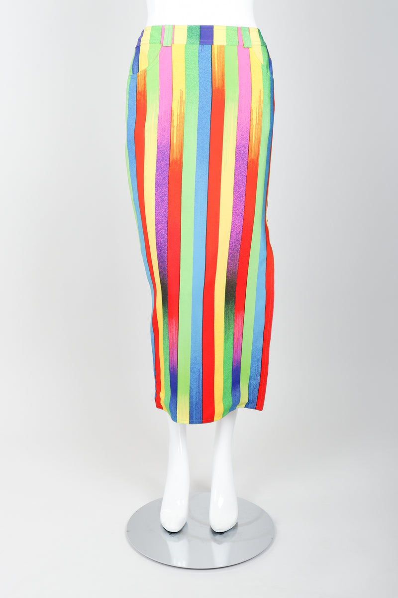 Vintage Versace Carnival Stripe Skirt Set on Mannequin Front at Recess Los Angeles