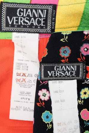 Vintage Versace Carnival Stripe Skirt Set labels at Recess