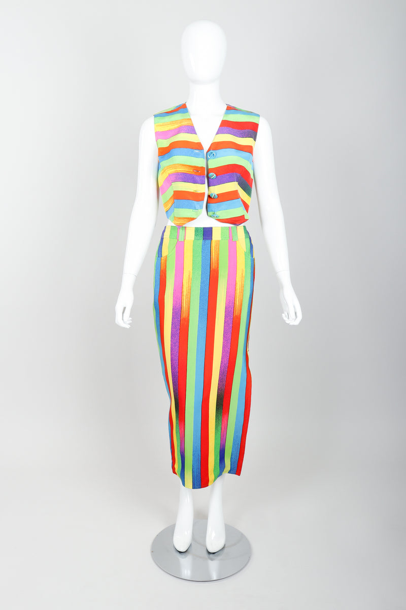 Vintage Versace Carnival Stripe Vest & Skirt Set on Mannequin Open at Recess Los Angeles