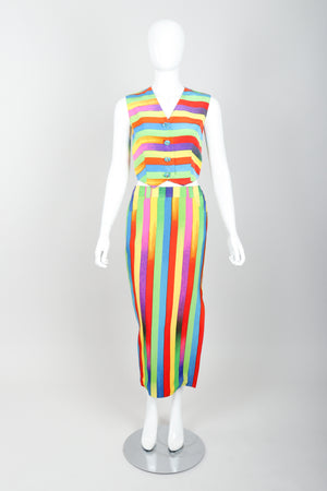 Vintage Versace Carnival Stripe Vest & Skirt Set on Mannequin Front at Recess Los Angeles