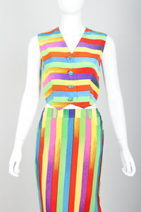 Vintage Versace Carnival Stripe Vest & Skirt Set on Mannequin Front Crop at Recess Los Angeles