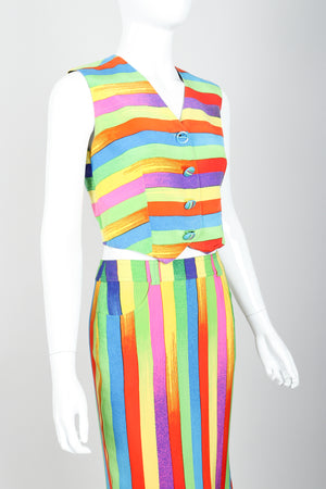 Vintage Versace Carnival Stripe Vest & Skirt Set on Mannequin Cropped at Recess Los Angeles