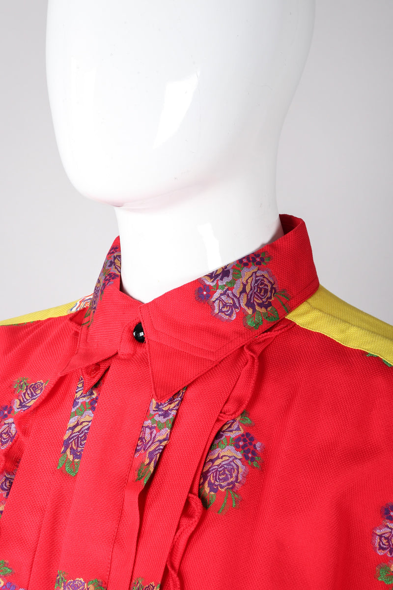 Recess Los Angeles Vintage Gianni Versace 90s Mens Colorblock Brocade Rose Shirt