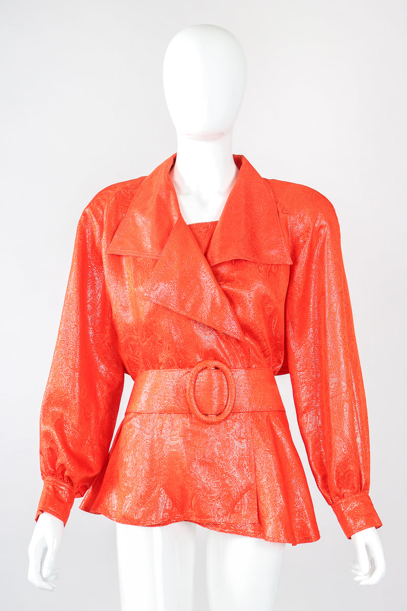Recess Designer Consignment Vintage Gillian Metallic Lamé Trench Top Los Angeles Resale