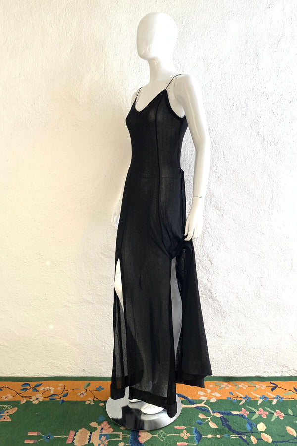 Vintage Gino Paoli Sheer Jersey Belted Slip Dress on Mannequin Side at Recess Los Angeles