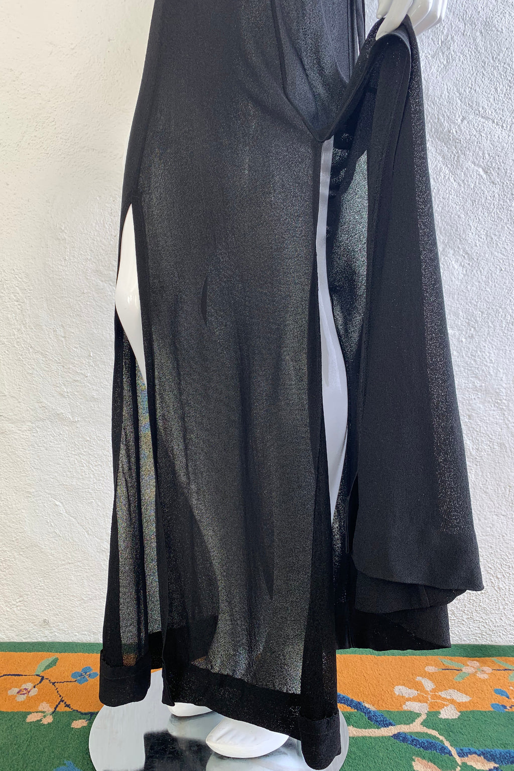Vintage Gino Paoli Sheer Jersey Belted Slip Dress on Mannequin Skirt Vents at Recess Los Angeles