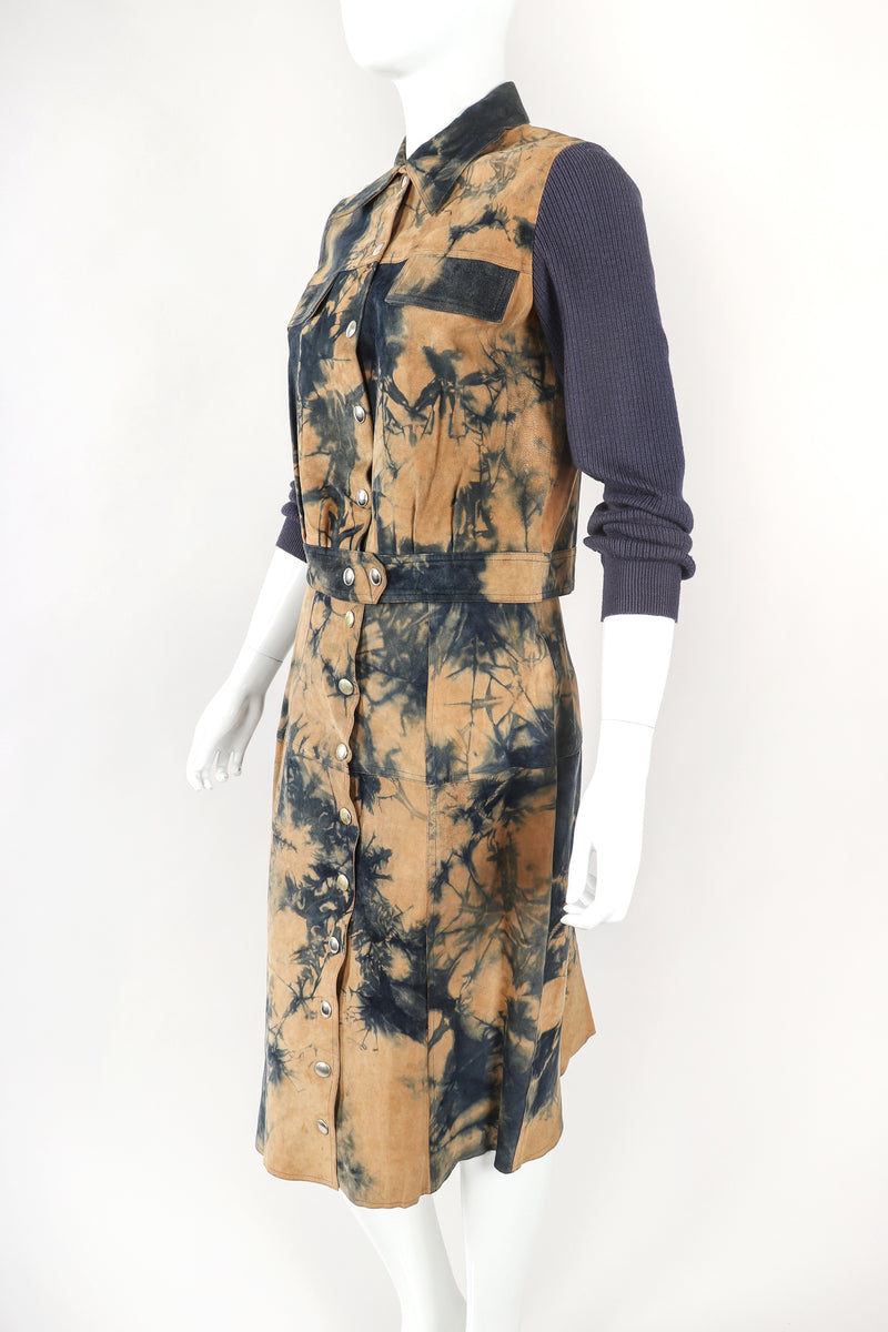 Recess Designer Consignment Vintage Gino Paoli Tie Dye Tissue Suede Jacket & Skirt Set Los Angeles Resale