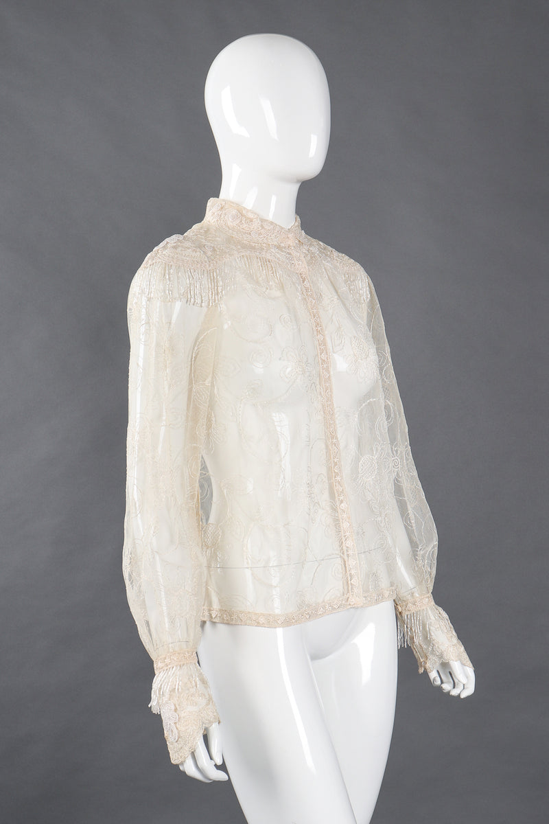 Recess Los Angeles Vintage Giorgio Sant'Angelo Bead Fringe Mesh Lace Blouse