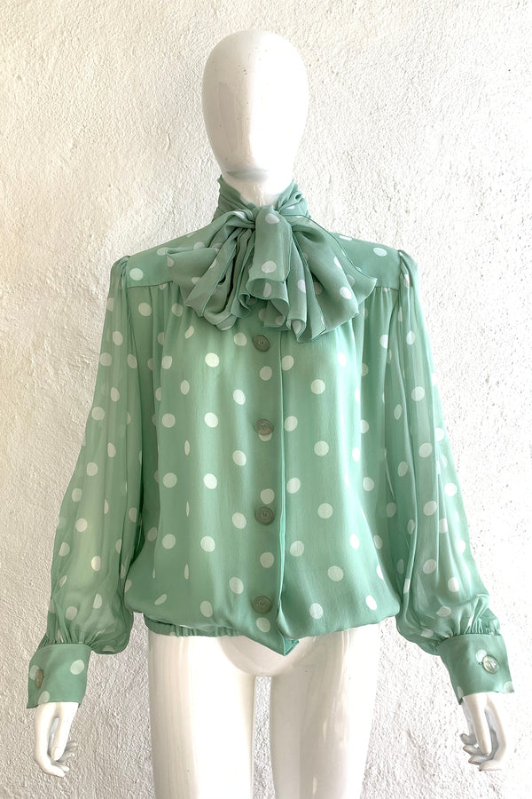 Vintage Givenchy Martha Sheer Chiffon Dot Blouse & Tie on Mannequin Front at Recess LA