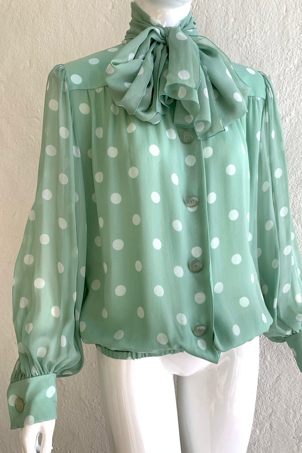 Vintage Givenchy Martha Sheer Chiffon Dot Blouse & Tie on Mannequin Angle Crop at Recess LA