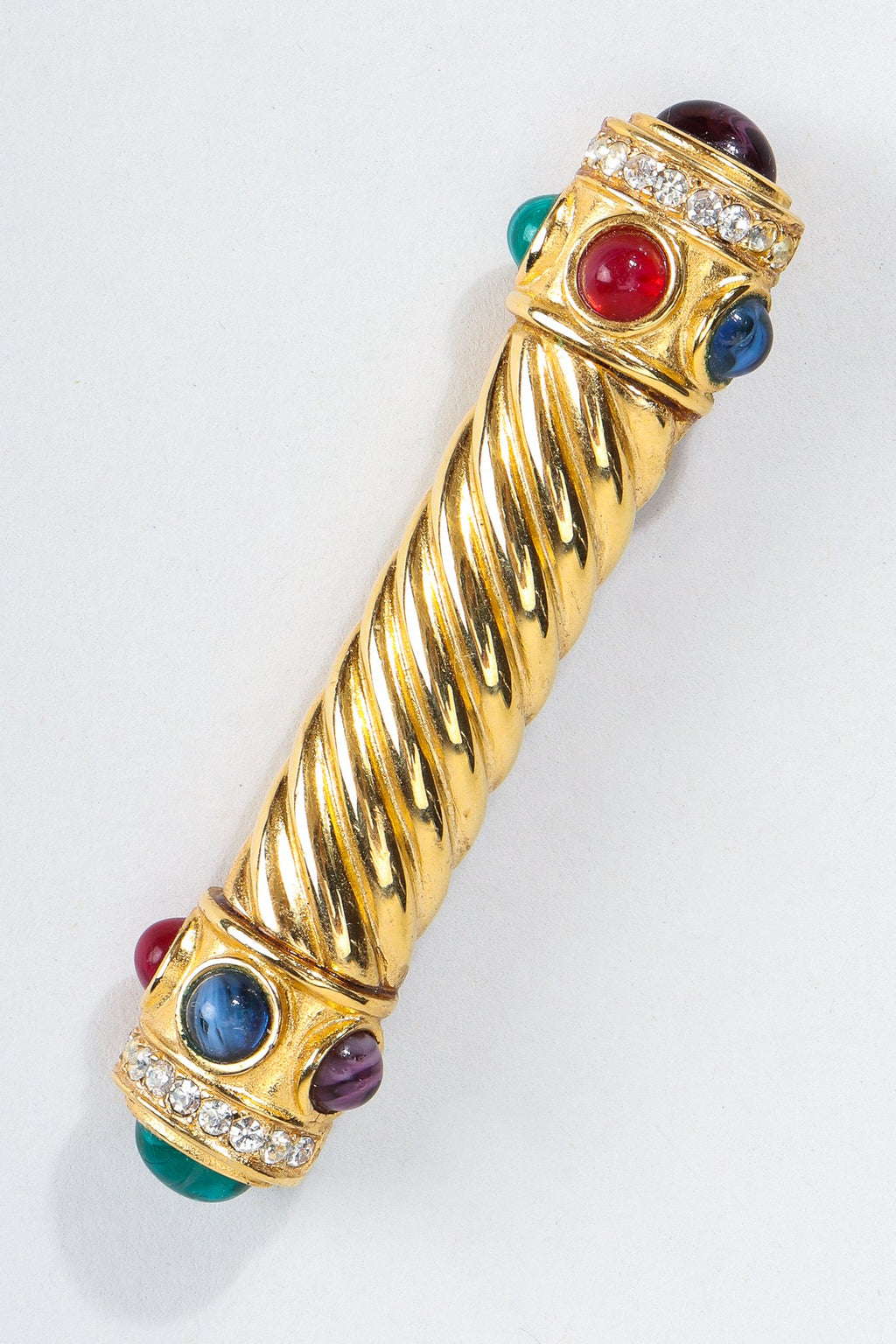 Vintage Givenchy Jeweled Gold Braid Bar Brooch Pin at Recess Los Angeles